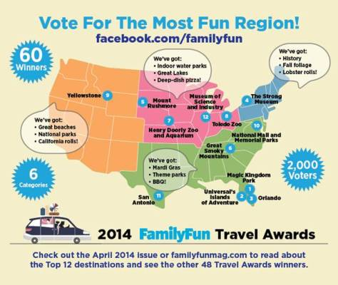FamilyFun magazine announces travel award winners. // (c) 2014 FamilyFun
