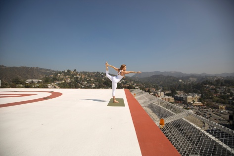 Rooftop yoga at the Loews Hollywood Hotel is for the adventurous. // (c) 2014 Loews Hollywood Hotel
